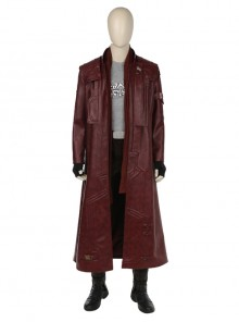 Guardians Of The Galaxy Vol 2 Star-Lord Peter Jason Quill Halloween Cosplay Costume Red Long Windbreaker Full Set