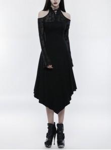 Gothic Female Dark Lace Spliced Irregular Hem Dress
