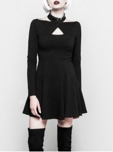 Gothic Female Black Cross Hollow Long Sleeve Elastic Elegant Dress