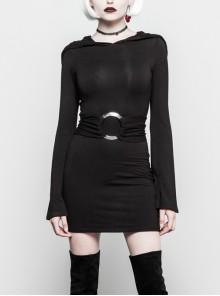 Gothic Witch Black Elastic Hooded Metal Belt Dress