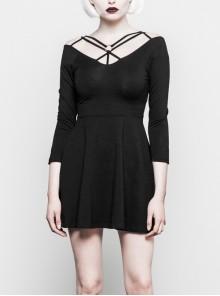 Gothic Female Black Elastic Strap Binding Close Fitting Dress