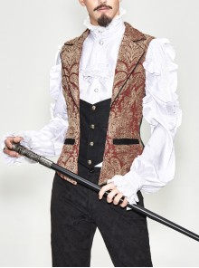 Golden Hand Sew Buttons Back Loop Fake Two Pieces Brown Gothic Jacquard Waistcoat
