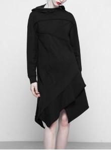 Gothic Female Black Hooded Irregular Hem Dress With Belt