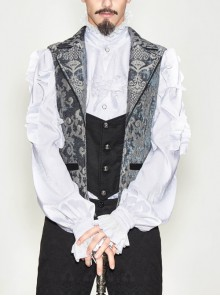 Golden Hand Sew Buttons Back Loop Fake Two Pieces Gray Gothic Jacquard Waistcoat