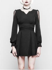 Gothic Female Black V Neck High Waist Lace Dress