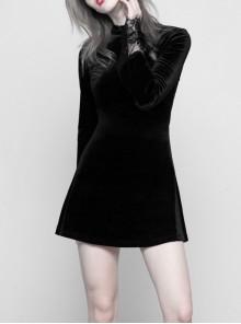 Gothic Female Dark Velvet Lace Stitching Elastic Dress