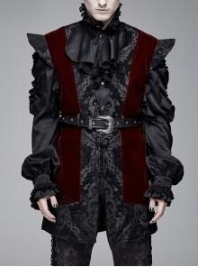 Velveteen Splice Jacquard Medium Waist Belt Metal Buckle Gray Gothic Length Waistcoat