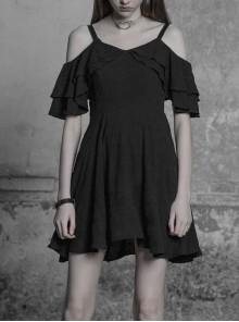 Gothic Dark Female Lotus Leaf Leather Strap Chiffon Dress