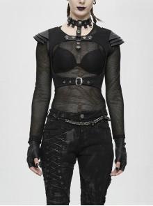 Cross Necklace Breast Armor Chest Hollow Waist Leather Loop Black Punk Short Waistcoat