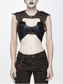 Brown Chest Hollow Loop Back Lace-Up Punk Raglan Sleeve Corset