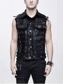 Black Coarse Twill Worn Out Heavy Metal Rivet Back Printed Punk Waistcoat