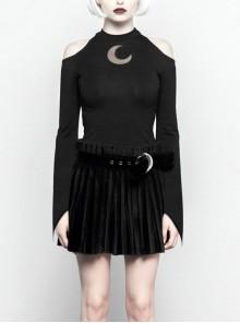 Gothic Female Black Off The Shoulder Moon Printed Slim Fitting Dress