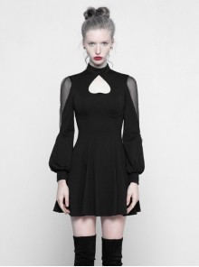 Gothic Black High Neck Inverted Heart Lace Stitching Elastic Dress