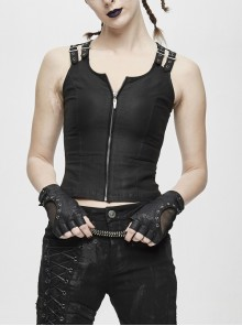 Double Loops Front Shoulder Backless Lace Up Black Punk Waistcoat