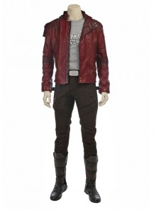 Guardians Of The Galaxy Vol 2 Star-Lord Peter Jason Quill Halloween Cosplay Costume Red Short Jacket Full Set