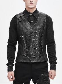 Fog-Flower Shoulder Loop V-Neck Chest Lace Up Gray Punk Waistcoat