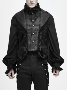 Fake Two Piece Leather Embroidered Swallow Tail Hem Black Gothic Waistcoat