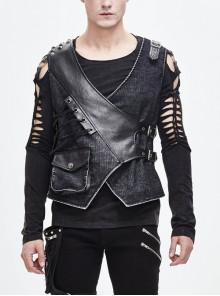 V-Neck Asymmetric Lace-Up Leather Loop Shoulder Rivet Black Punk Corduroy Waistcoat