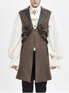 Brown Striped Leather Metal Rivet Collar Lobster Clasp Punk Mid-Length Waistcoat