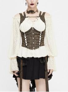 Chest Hollow Steel Buckle Rivet Strap Lace-Up Brown Punk Shapewear Waistcoat