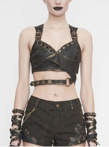 Vintage Hand-Wiped Leather Shoulder Loop Backless Lace-Up Brown Punk Short Waistcoat