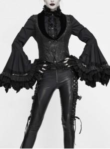 Black 3D Jacquard Low Collar Gothic Velvet Waistcoat