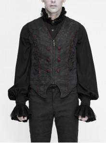 Black Dark Jacquard Chest Plate Buttons Back Lace-up Corner-Shaped Hem Gothic Waistcoat