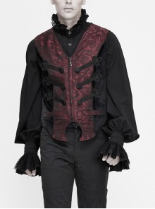 Wine Red Jacquard Chest Black Plate Buttons Back Lace-up Corner-Shaped Hem Gothic Waistcoat