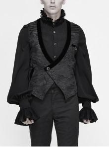Black Asymmetrical Pleated Splice Velveteen Waist Loop Gothic Waistcoat