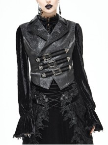 Black Leather Splice Bright Satin Woven Rows Of Flocked Belts Back Lace-Up Dovetail Hem Gothic Waistcoat