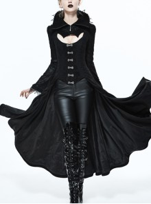Gothic Big Standing Collar Lace Horn Sleeve Cuff Black Floral Dark Patterned Embroidered Suede Women Dress Coat
