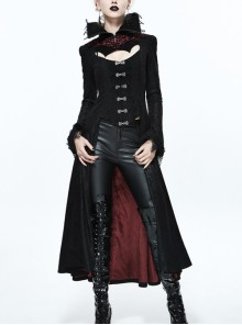 Gothic Big Standing Collar Lace Horn Sleeve Cuff Black Floral Dark Patterned Embroidered Red Suede Women Dress Coat