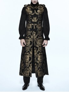 Gothic Spiral Buckle Decorated Gold Court Jacquard Long Black Vest