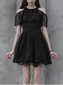 Gothic Female Elegant Black Lace High Waist Chiffon Dress