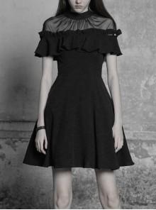 Gothic Female Black Lotus Leaf Stitching Lace Dress