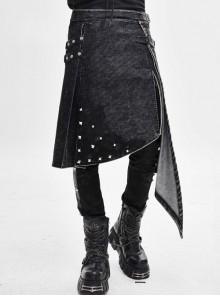 Side Leather Loop Mesh Rivet Irregular Hem Gray Punk Faded Corduroy Wrapped Kilt