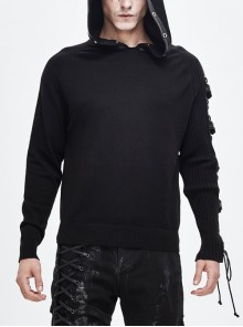 Asymmetrical Sleeves Leather Loop Lace-Up Black Punk Hooded Sweater