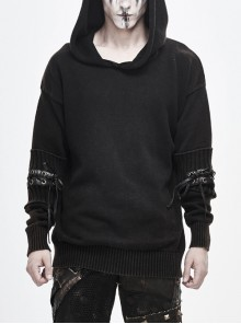 Worn-Out Long Sleeve Elbow Leather Strip Lace-Up Brown Punk Hooded Coarse Knit Sweater
