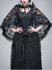 Paisley Dark Pattern Jacquard Rose Mesh Knitted Cape Lace Flounce Hem Black Gothic Vest