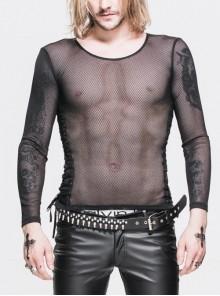 Diamond-Shaped Net Round Collar Long Sleeve Side Lace-Up Black Punk T-Shirt