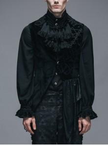 Spun Velvet Chinese Frog Button Floral Spiral Pattern Asymmetrical Hem Lace-Up Black Gothic Waistcoat