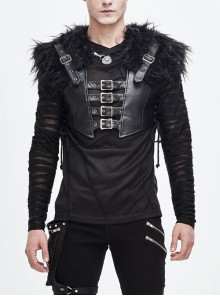 Fur Shawl Chest Loop Side Lace-Up Black Punk Leather Waistcoat