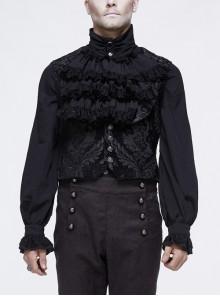 Black Jacquard Metal Mushroom Button Waist Loop Short Gothic Waistcoat