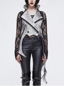 Off White Painted Back Lace-Up Asymmetrical Lace Hem Gothic Waistcoat