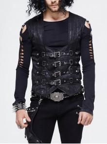 Black Jacquard Splice Heat Seal Backing Chest Loop Back Lace-Up Punk Waistcoat