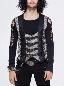 Silver Jacquard Splice Black Heat Seal Backing Chest Loop Back Lace-Up Punk Waistcoat