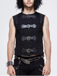 Coarse Texture Woolen Patchwork Heat Seal Backing Leather Loop Rough Selvage Black Punk Waistcoat
