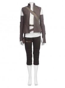 Star Wars The Last Jedi Rey Halloween Cosplay Costume Brown Vest Suit Full Set