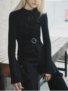 High Collar Chest Crossover Ribbon Small Horn Sleeve Black Short Skinny Gothic Shirt
