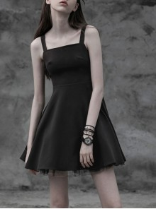 Gothic Female Black Lace Up Chiffon Slip Dress